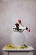 Three Roses Prints - Stacked Vases Print by Joana Kruse