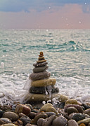 Orange Beach Prints - Stacking Stones Print by Stylianos Kleanthous