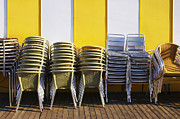 Furniture Store Framed Prints - Stacks of Chairs and Tables Framed Print by Carlos Caetano