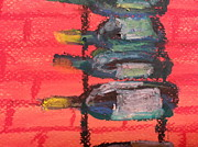 Wine Bottles Pastels - Stacks of Red by Steve Jorde