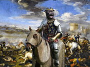 Staffordshire Paintings - Staffordshire Bull Terrier Art - Call of the King final battle by Sandra Sij