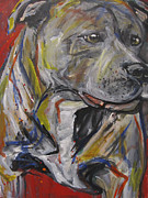 Staffordshire Bull Terrier Paintings - Staffordshire Bull Terrier by Mary Gallagher-Stout