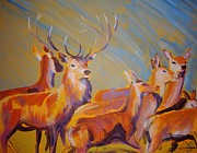 Atmospheric Drawings Prints - Stag and Deer Painting Print by Mike Jory