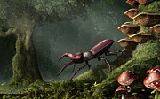 Forest Floor Digital Art Posters - Stag Beetle Poster by Daniel Eskridge