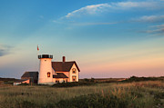 Evening Light Prints - Stage Harbor Lighthouse Print by Bill  Wakeley