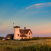 Cape Cod Landscape Prints - Stage Harbor Lighthouse Square Print by Bill  Wakeley