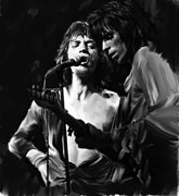 Mick Jagger Drawings - Stage Life Mick Jagger Keith Richards by Iconic Images Art Gallery David Pucciarelli