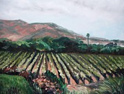 Rows Painting Posters - Stags Leap Vineyard Poster by Donna Tuten