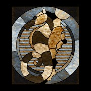 Stain Glass Seahorse Print by Tisha McGee