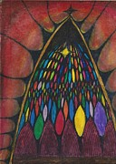 Stain Glass Window Drawing Print by Cim Paddock