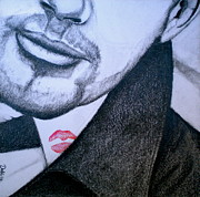 Red Lips Drawings - Stained by Debi Pople