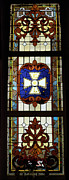 Church Glass Art Prints - Stained Glass 3 Panel Vertical Composite 01 Print by Thomas Woolworth