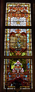 Church Glass Art Prints - Stained Glass 3 Panel Vertical Composite 02 Print by Thomas Woolworth