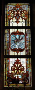 Greeting Card Glass Art Posters - Stained Glass 3 Panel Vertical Composite 03 Poster by Thomas Woolworth