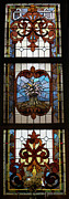 Church Glass Art Prints - Stained Glass 3 Panel Vertical Composite 04 Print by Thomas Woolworth