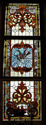 Greeting Card Glass Art Posters - Stained Glass 3 Panel Vertical Composite 05 Poster by Thomas Woolworth