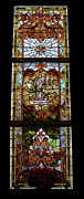 Church Glass Art Prints - Stained Glass 3 Panel Vertical Composite 06 Print by Thomas Woolworth