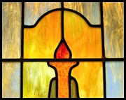 Orange Glass Art Prints - Stained Glass 7 Print by Tom Druin