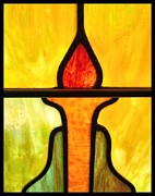 Orange Glass Art Prints - Stained Glass 8 Print by Tom Druin