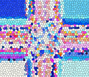 Painted Details Posters - Stained Glass Colorful Cross Poster by Barbara Griffin