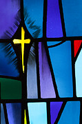 Living With Joy Metal Prints - Stained Glass Cross Metal Print by Karen Lee Ensley