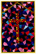 Cross Art Paintings - Stained Glass Cross by Michael Vigliotti