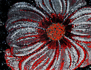 Painted Details Posters - Stained Glass Flower with Stripes Poster by Barbara Griffin