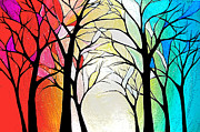 Annmarie Vierick Metal Prints - Stained Glass Forrest Metal Print by Annmarie Vierick