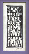 Stained Drawings - Stained Glass Jesus 1967 by Glenn Bautista
