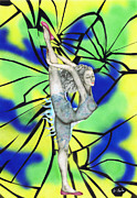 Dancer Mixed Media - Stained glass by Kenneth Clarke