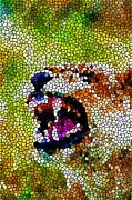 Christian Artwork Paintings - Stained Glass Leopard 3 by Lanjee Chee