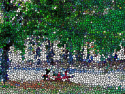 Christian Artwork Paintings - Stained glass  park by Lanjee Chee