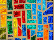Hanging Glass Art Posters - Stained Glass Rainbow Poster by Andrea  OConnell