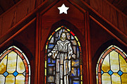 Stained Glass Window Photos - Stained Glass Saviour by Al Powell Photography USA