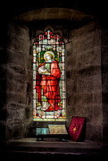 Llangernyw Prints - Stained Glass Window 2 Print by Adrian Evans