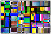 Lounge Digital Art Metal Prints - Stained Glass Window II Multi-Coloured Abstract Metal Print by Natalie Kinnear