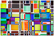 Lively Colors Prints - Stained Glass Window Multi-Colored Abstract Print by Natalie Kinnear