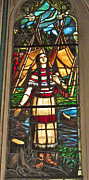 Catherine Window Framed Prints - Stained Glass Window of Catherine Tekakovita in Basilica Notre-Dame De Montreal-QC Framed Print by Ruth Hager