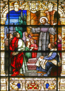 Window Panes Framed Prints - Stained Glass Window Saint Augustine preaching Framed Print by Christine Till