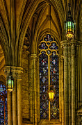 Chandeliers Prints - Stained Glass Windows At Saint Patricks Cathedral Print by Susan Candelario
