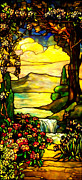 Stained Glass Mosaic Framed Prints - Stained Landscape 2 Framed Print by Donna Blackhall