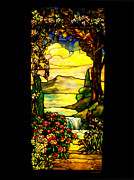 Stained Glass Windows Prints - Stained Landscape Print by Donna Blackhall