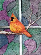 Jewel Tones Originals - Stainglass Cardinal 2 by Janet Warren