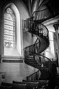 Tapestries Framed Prints - Staircase Black and White Framed Print by Jim McCain