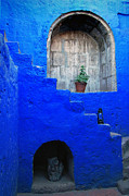 Painted Walls Prints - Staircase in blue courtyard Print by RicardMN Photography