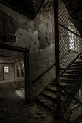 Asylums Posters - Stairs And Corridor Inside An Abandoned Asylum Poster by Gary Heller