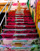 Yellow Green Posters - Stairs Poster by Angela Wright