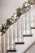 Wooden Stairs Prints - Stairs at Christmas Print by Margie Hurwich