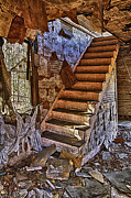 Virginia Ruins Photos - Stairs Carrollton Ruin Virginia by Greg Molesworth