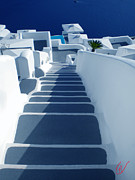Greetingcard Posters - Stairs down to oceon Santorini Poster by Colette V Hera  Guggenheim
